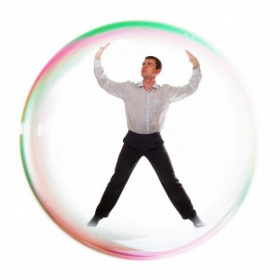Man inside a  bubble